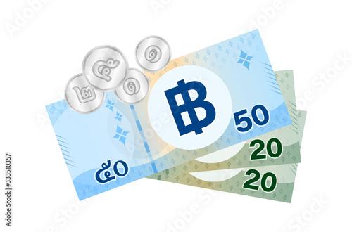 Obraz na plátne thai banknote money 99 baht isolated on white, thai currency ninety nine THB con