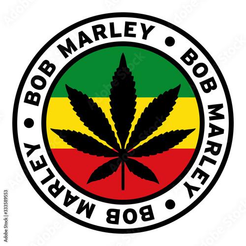 Fotomural Round Bob Marley Rasta Marijuana Flag Clipart