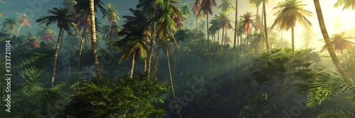 Sunrise in the jungle, palm trees in the fog in the morning, the rays of the sun Fototapeta