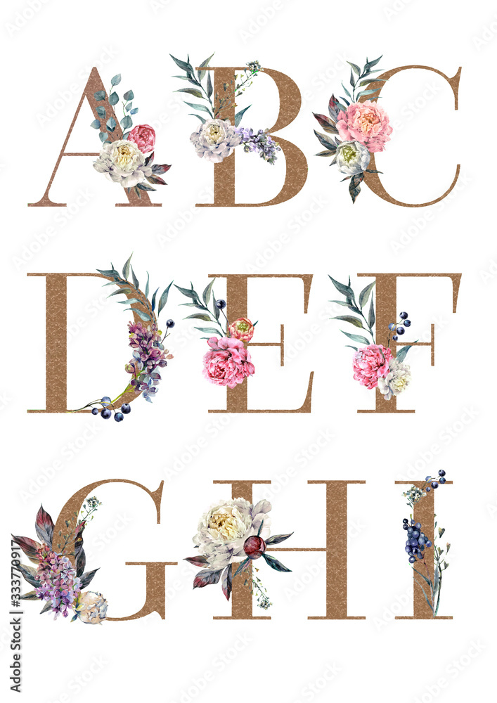 Watercolor Floral Alphabet Isolated Set 1 <span>plik: #333770917 | autor: Inna Sinano</span>