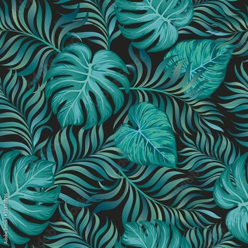 egzotyczna-dzungla-z-tropikalnych-lisci-na-modnym-ciemnym-tle