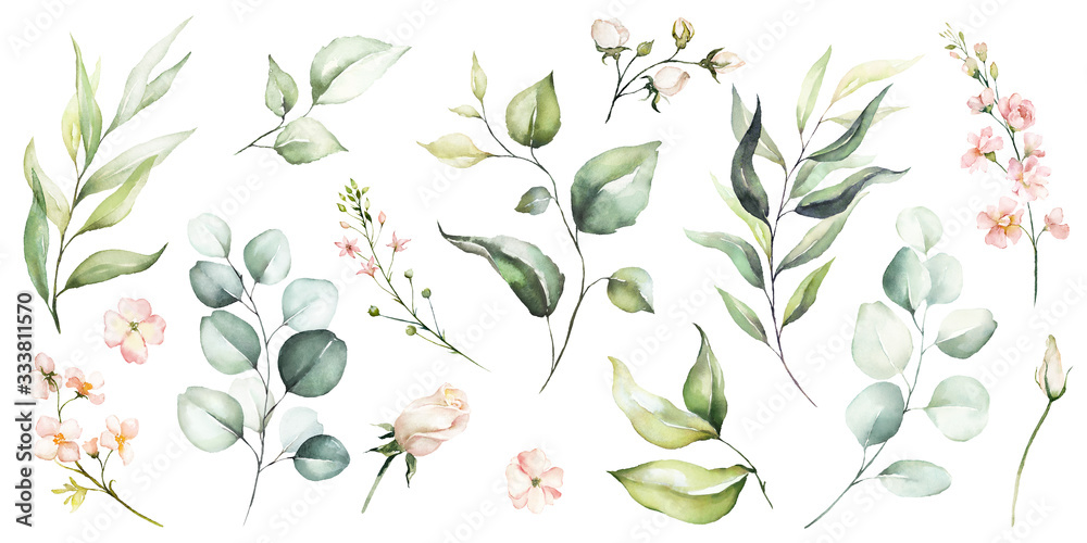 Watercolour floral illustration set. DIY flower, green leaves elements collection - for bouquets, wreaths, arrangements, wedding invitations, anniversary, birthday, postcards, greetings, cards, logo. <span>plik: #333811570   autor: Veris Studio</span>
