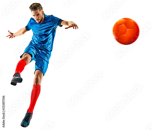 Fotografie, Obraz young soccer player man isolated white background standing