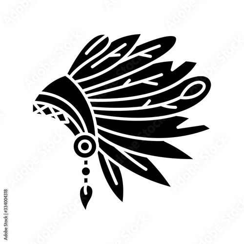 Wallpaper Mural Native Indian American chief hat black glyph icon