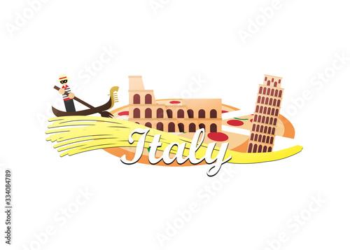 Logo of Colosseum, Leaning Tower of Pisa, and masked gondolier holding fork padd Fototapeta
