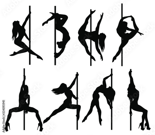 Slika na platnu Set of silhouette women dancers on a pole