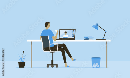 Fotografie, Obraz flat vector work from home workplace concept and business smart working online c