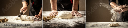 Photo Beautiful and strong men's hands knead the dough from which they will then make bread, pasta or pizza