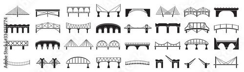Fotografiet Bridge of construction vector black set icon
