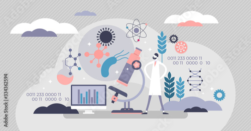 Synthetic biology concept, flat tiny persons vector illustration Fototapete