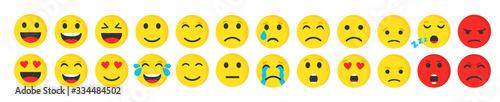 Set of cute smiley emoji flat icon, vector illustration.