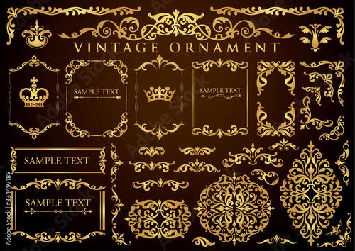 Fotografia vintage ornament set. floral frames and borders.
