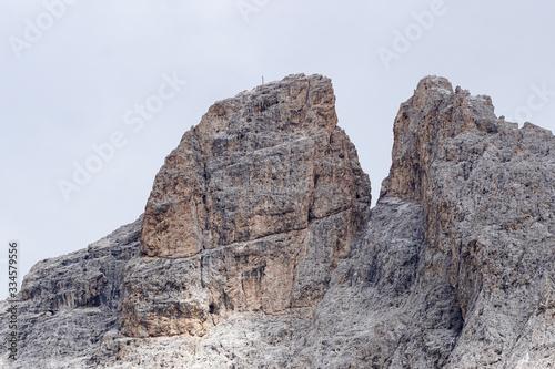 Fototapeta Furchetta Peak in the Dolomites: Majestic Peak in Puez Odles Naturepark / Garden