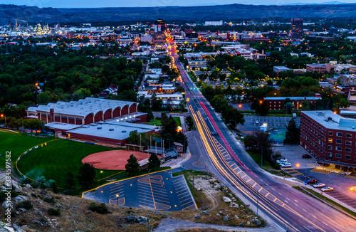 Stampa su Tela Billings Montana Cityscape streaming lights
