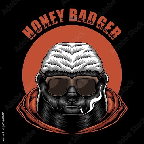 Honey badger eyeglasses vector illustration Fototapet