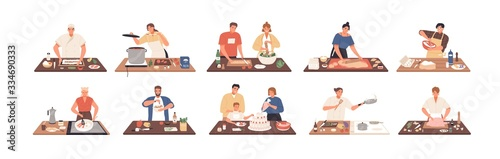 Smiling people cooking on kitchen table set vector flat illustration. Collection of various cartoon man, woman, couple and family preparing food isolated on white. Colorful person meal preparation