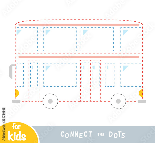 Connect the dots, game for children, Double-decker bus Fototapet
