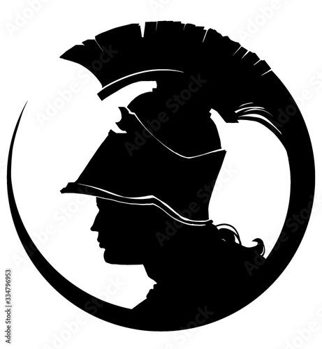 Wallpaper Mural A profile silhouette of a Greek woman in a Spartan helmet whose tail describes a perfect circle around her face