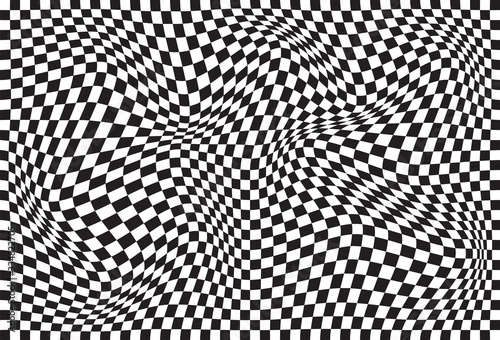Vector abstract geometric wavy chessboard background Fototapet