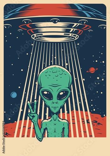 Space colorful vintage poster Fototapeta