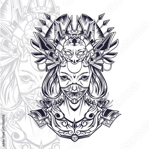 Canvas-taulu shinning geisha illustration