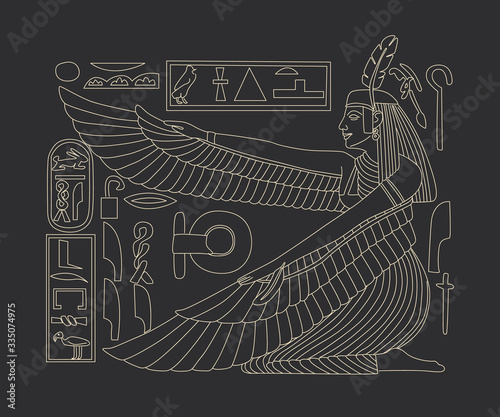 Canvas Print image of egyptian god in retro engraving style