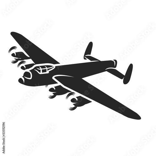Vintage bomber vector illustartion. WW2 heavy military aircraft. Fototapeta