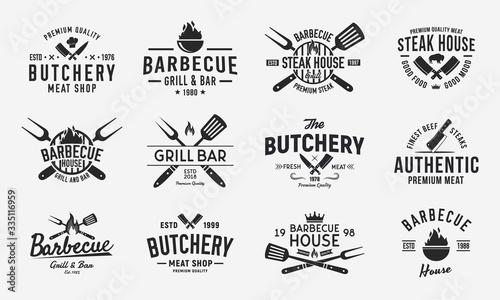 Foto Vintage logo set for Meat Restaurants
