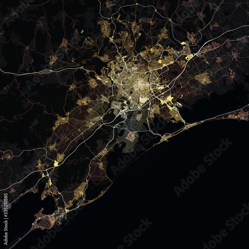 Canvas Print Map Montpellier city. France