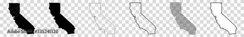 Fényképezés California Map Black | State Border | United States | US America | Transparent I