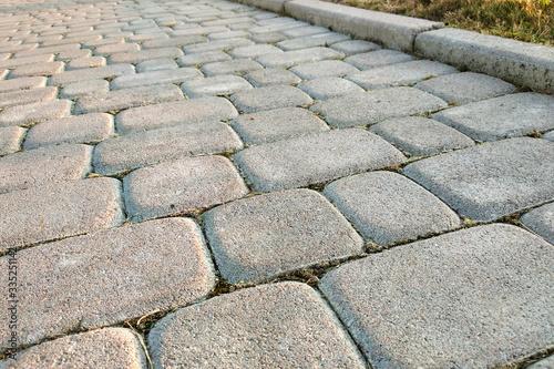 Canvas Print Close-up of slab stone paved path way at park or backyard
