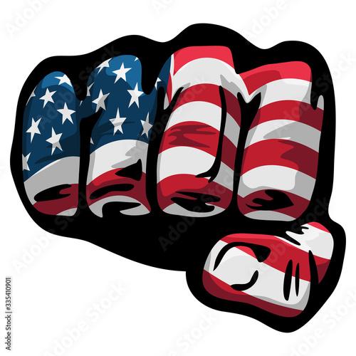 Stampa su Tela American Flag Fist Isolated Vector Illustration