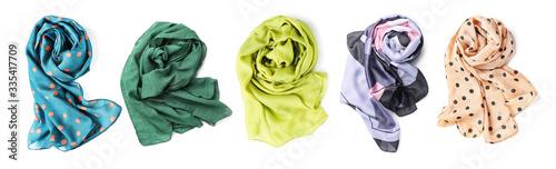 Billede på lærred Different beautiful scarves on white background