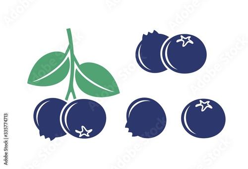 Obraz na plátne Blueberry logo. Isolated blueberry on white background