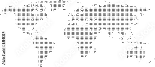 Dotted world map on white background. World map template with continents, North and South America, Europe and Asia, Africa and Australia #335848339