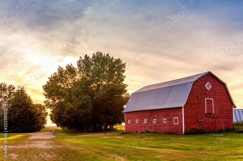 Fototapeta Red Barn at Sunset