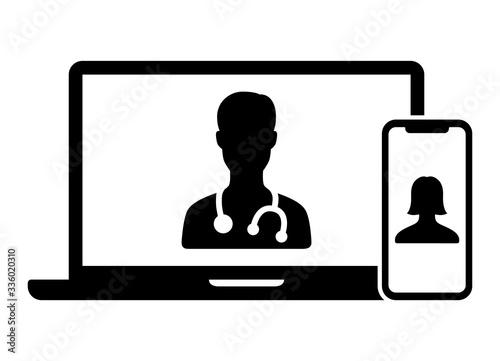 Telemedicine or telehealth virtual visit / video visit between doctor and patien Fototapeta