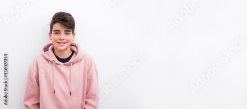 Fotografija young teenager boy smiling isolated on white background