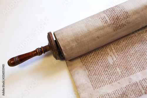 Fotografie, Obraz Old torah scroll book close up detail. Torah Jewish People.