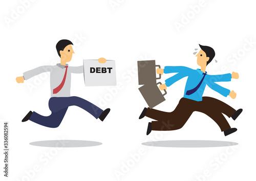 Fotografia Worried businessman running away from his debt collector