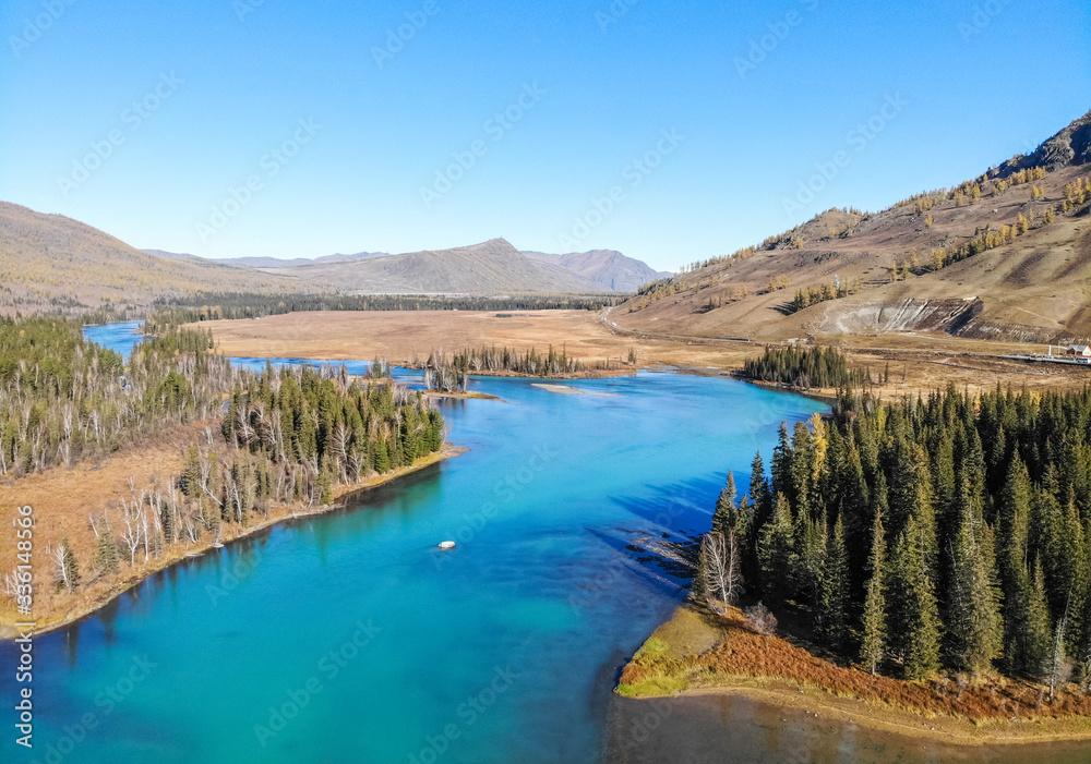 aerial view of Fairy Bay, Kanas National Geopark, Xinjiang, China