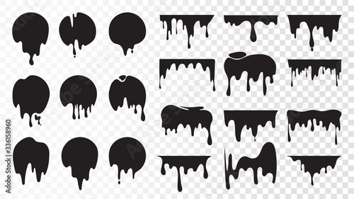 Black dripping ink. Isolated spots of paint, floating oil blots vector set. Blob paint, ink splatter black, stain and drip illustration