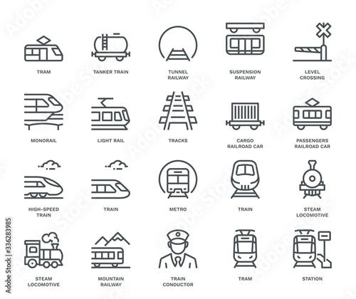 Canvas Print Rail Transport Icons