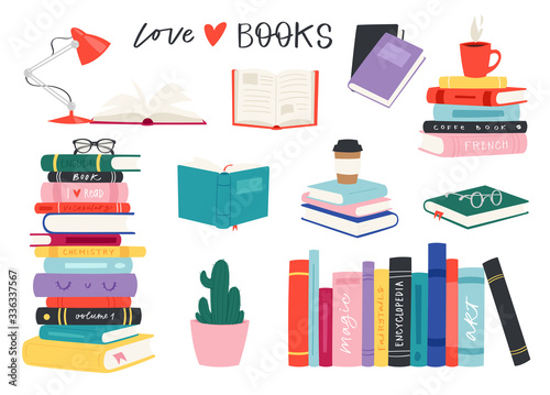 Cartoon reading set of hadrdrawn books. Vector illustration for reading lovers with open books, piles, colorful covers, in a stack, in a group, closed for web, library, store, study.