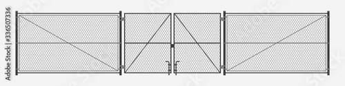 Fototapeta chain link fence with gates