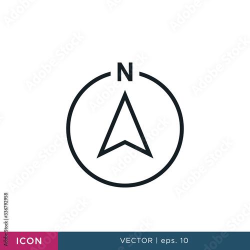 Fototapeta North direction arrow compass icon vector design template