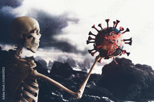 Obraz na plátně apocalypse knight shows covid-19 virus during judgment day