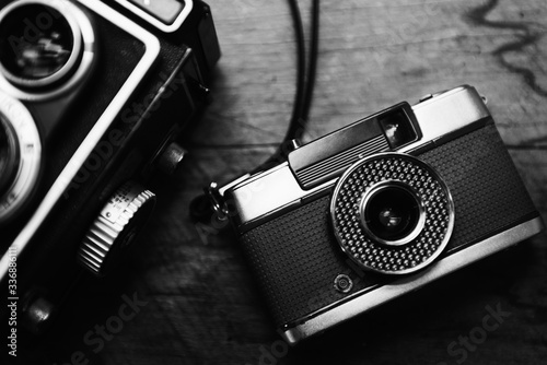 Closeup of film camera