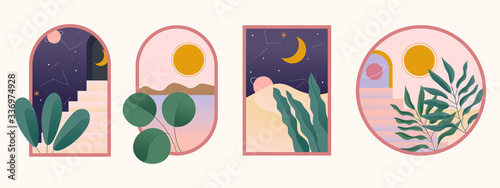 Fotografia Minimal illustration in various frames with stairs, arches, plants and other objects