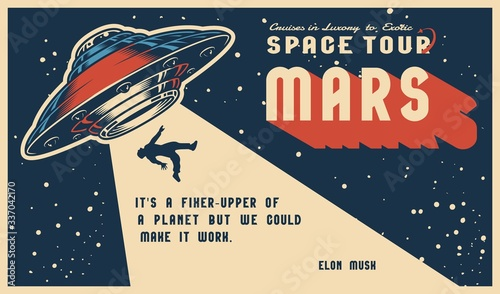 Canvas Print Space vintage colorful horizontal poster